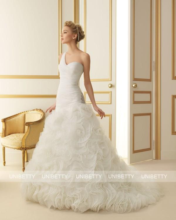 ウェディングドレス サイズオーダー無料 ワンショルダー ウエディング Aライン WEDDING DRESS 披露宴 演奏会 結婚式 二次会 ws2522