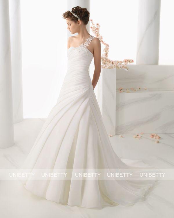 ウェディングドレス サイズオーダー 送料無料 Aライン 結婚式 二次会 ワンショルダー ws2694