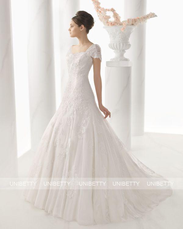 【袖付き】ウェディングドレス サイズオーダー 送料無料 Aライン 結婚式 二次会 披露宴 ws2678