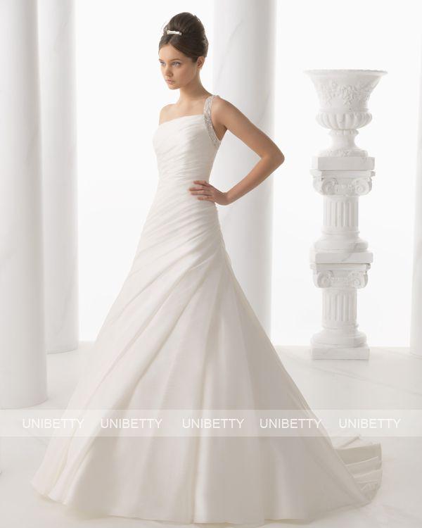 【ワンショルダー】ウェディングドレス サイズオーダー 送料無料 Aライン 結婚式 二次会 披露宴 ws2702