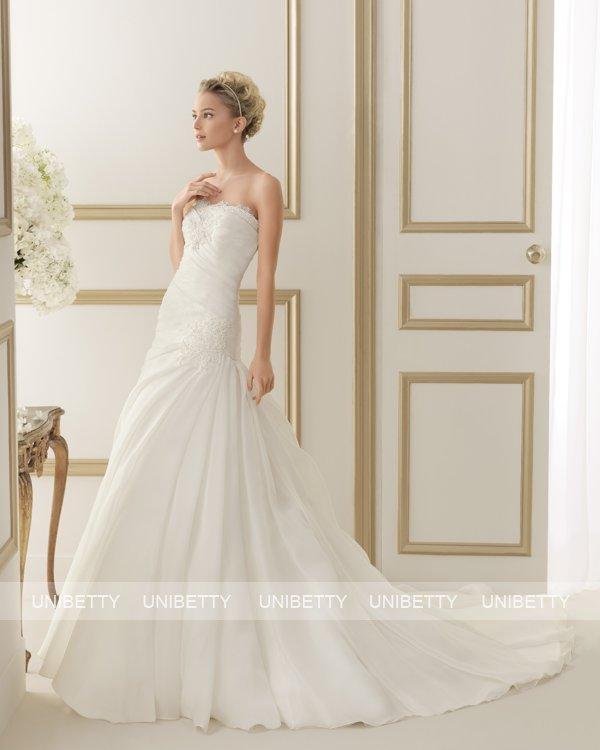ウェディングドレス サイズオーダー 送料無料 Aライン 結婚式 二次会 披露宴 ws2608