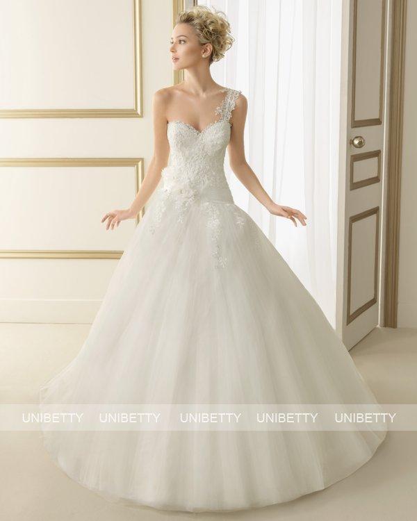 ウェディングドレス サイズオーダー 送料無料 プリンセスライン ワンショルダー 結婚式 二次会 披露宴 ws2645