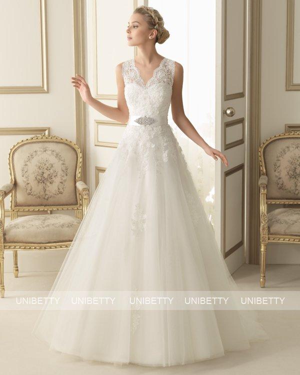ウェディングドレス サイズオーダー 送料無料 Aライン 結婚式 二次会 披露宴 ws2646