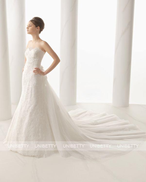 ウェディングドレス サイズオーダー 送料無料 マーメイドライン ロングトレーン 結婚式 二次会 ws2712