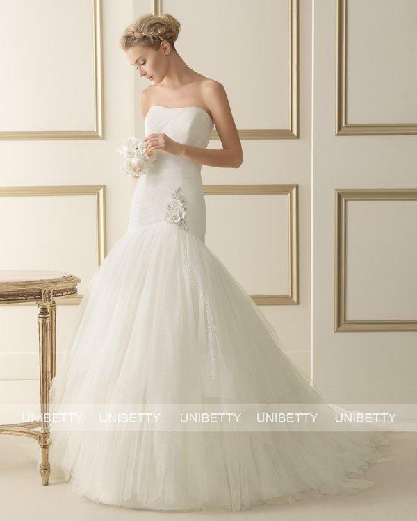 ウェディングドレス サイズオーダー 送料無料 マーメイドライン 結婚式 二次会 披露宴 ws2610