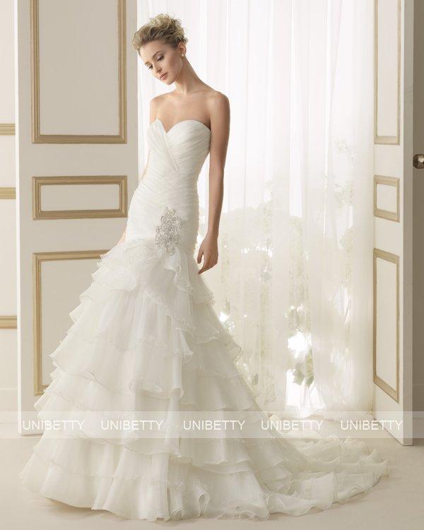 ウェディングドレス サイズオーダー 送料無料 マーメイドライン 結婚式 二次会 披露宴 ws2626