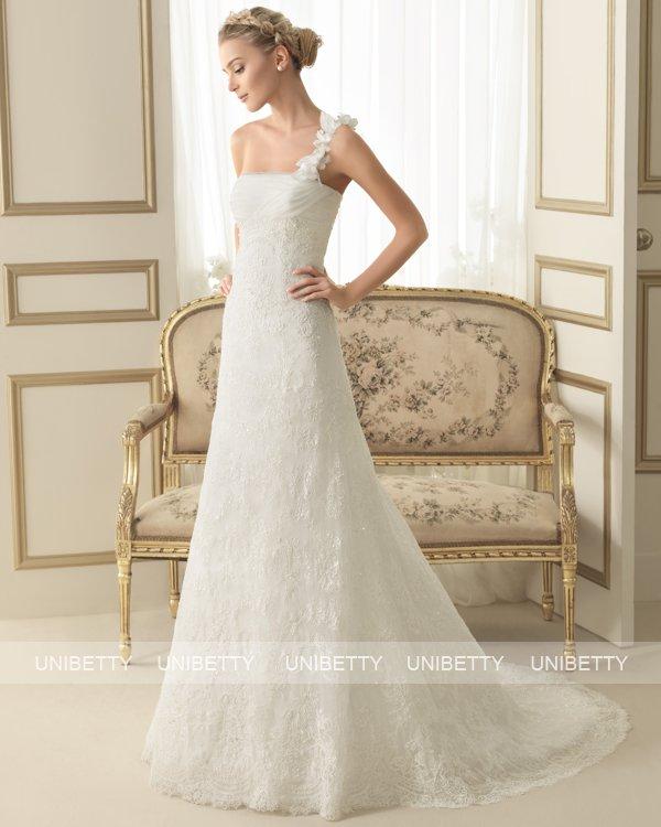 ウェディングドレス サイズオーダー ワンショルダー マーメイドライン 結婚式 二次会 披露宴 ws2654