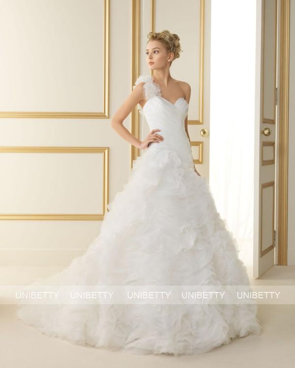 ウェディングドレス 結婚式 オーダードレス ウエディング プリンセスライン ワンショルダー 披露宴 演奏会 二次会 花嫁 ws2513