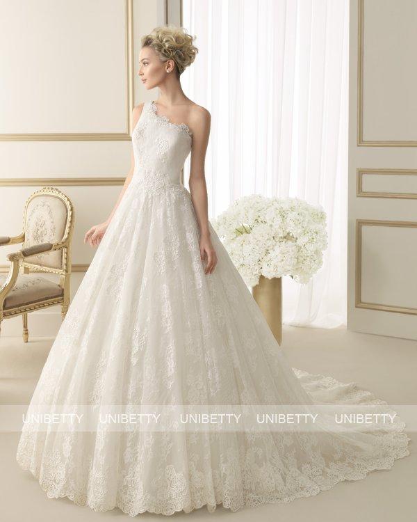 【ワンショルダー】ウェディングドレス サイズオーダー 送料無料 プリンセスライン結婚式 二次会 披露宴 ws2659