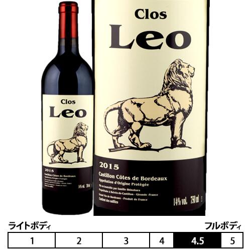 10,800円以上ご購入で送料無料!ボルドーの日本人醸造家、篠原麗雄 氏が造る生産量極少量のワイン! クロ レオ[2015年]赤 750ml ボルドー[Clos Leo] フランス 赤ワイン 日本人