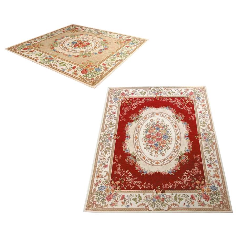ゴブラン織 シェニールカーペット 4.5畳用(約240×240cm)≪レッド・YAN13824RE≫