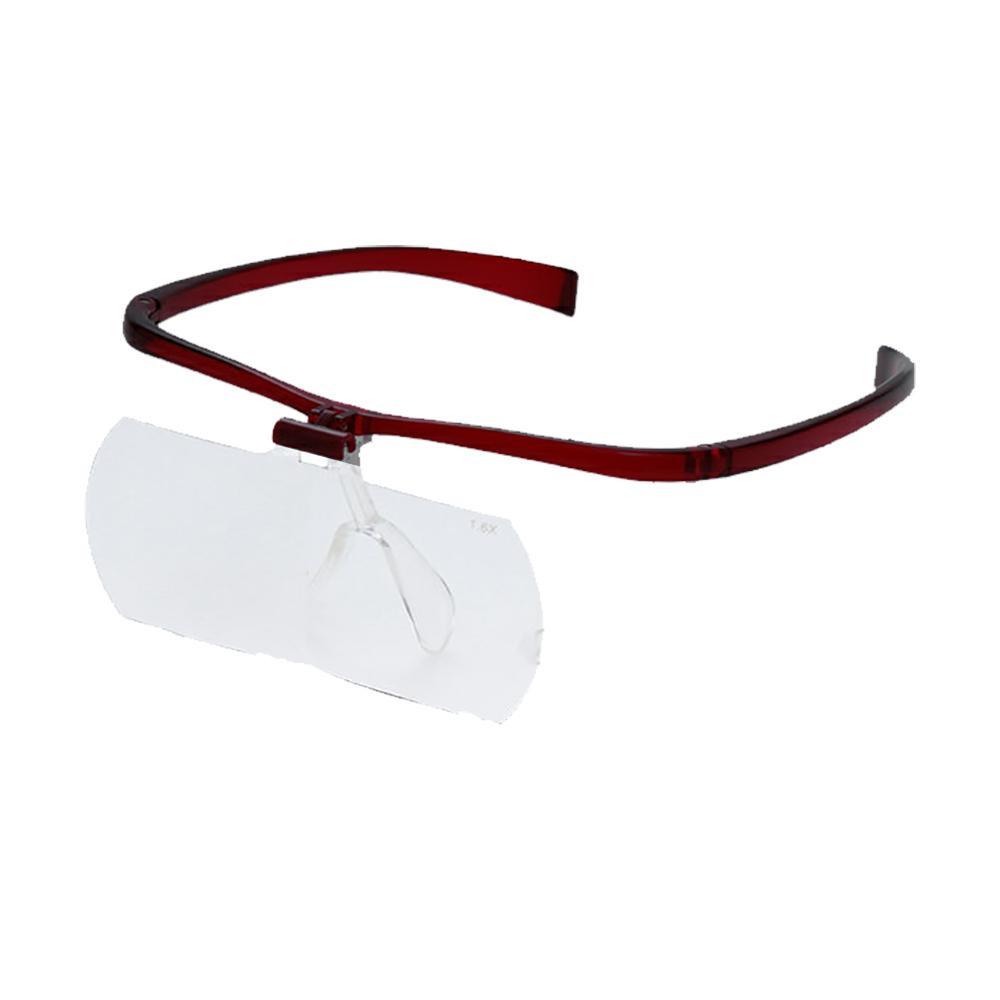 広い視野で大きく拡大 メガネルーペII HF-60DEF 使い勝手の良い 選択 レンズ3枚組 1.6倍 2.0倍 2.3倍 074098 ワイン