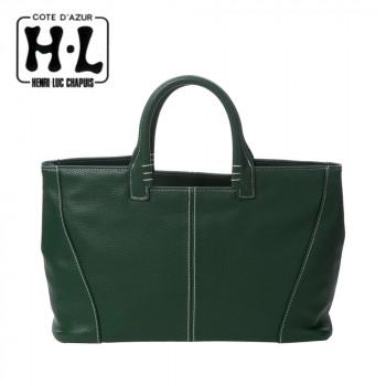 洋服のコーディネートの差し色としても活躍 H.L アッシュエル 特売 B-HLSL8011GRN 大注目 グリーン カラー横長トートバッグ