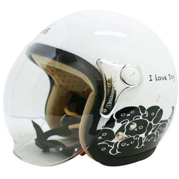 ダムトラックス(DAMMTRAX) ジェットヘルメット CARINA P.WHITE-DOG レディースフリー(57~58cm)