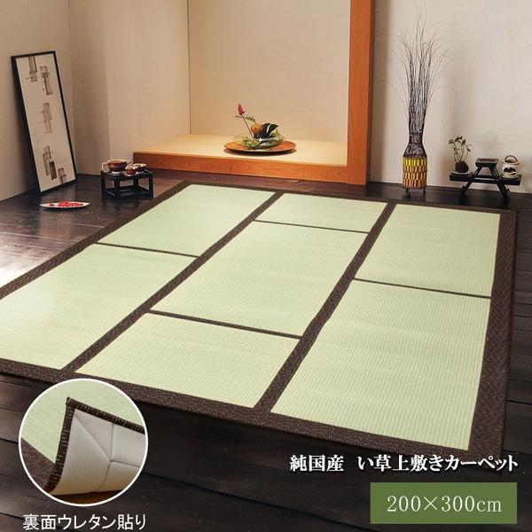 純国産/日本製 い草カーペット い草マット 『F蔵』 ブラウン 約200×300cm 裏:ウレタン張り コンパクト収納可