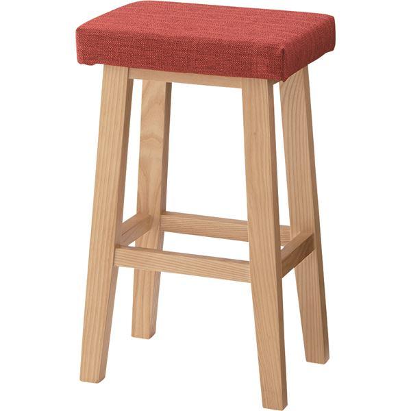 ハイスツール バンビ 木製 高さ60cm CL-789CRD レッド(赤)