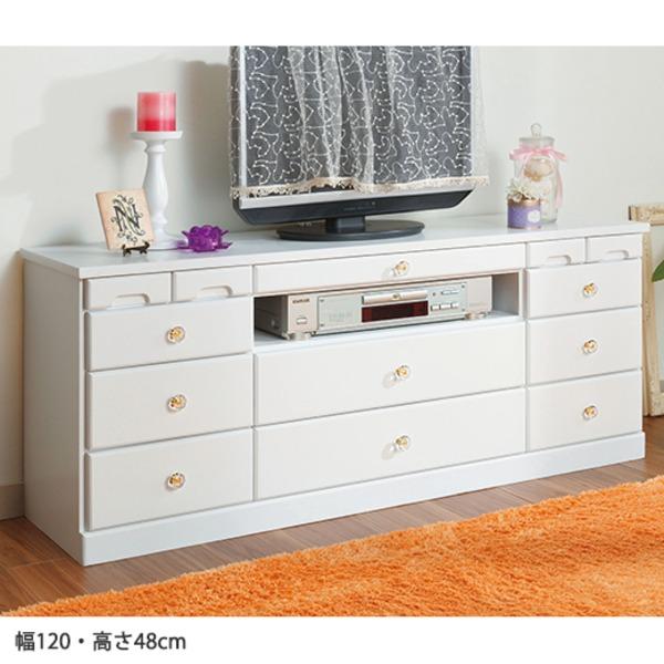 選べる引き出しいっぱいリビングボード(サイドボード) 【6: 幅120cm×高さ48cm】 木製 ホワイト(白)