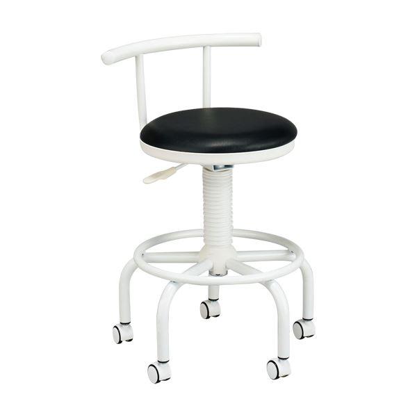 座り心地のよいキッチンチェア フットレスト/キャスター付き 高さ調節可 ブラック(黒)