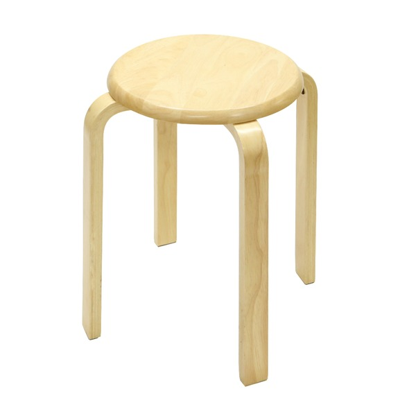 スタッキングチェア/チェスト 【6脚セット】木製 丸型(円形) ナチュラル