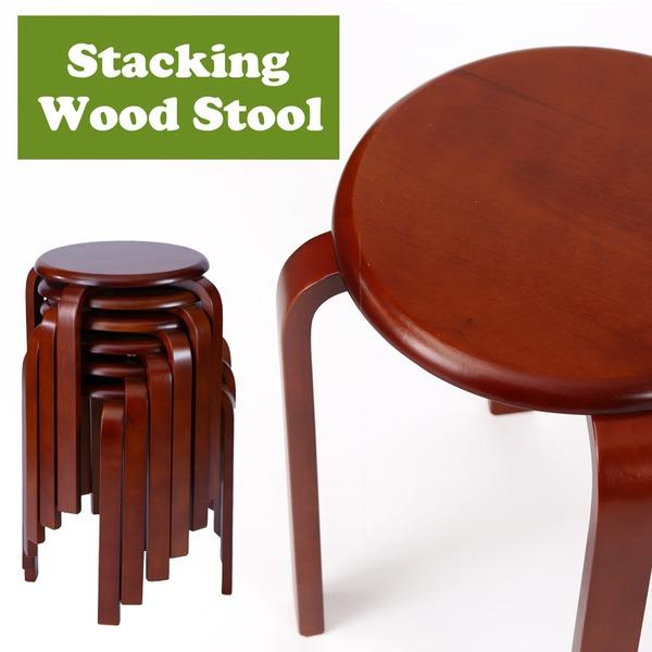 スタッキングチェア/チェスト【6脚セット】 木製 丸型(円形) ブラウン