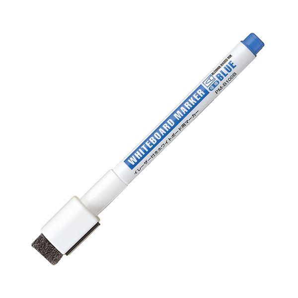 (まとめ) コクヨ イレーザー付ホワイトボード用マーカー マグネット付 極細 青 PM-B100B 1本 【×100セット】