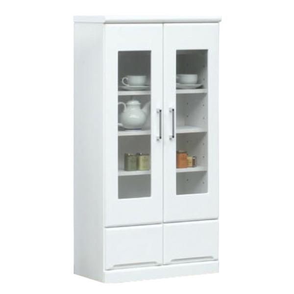 ミドルキャビネット(リビングボード/収納棚) 【幅60cm】 可動棚付き 日本製 ホワイト(白) 【Creap4】クリープ4 【完成品】【代引不可】