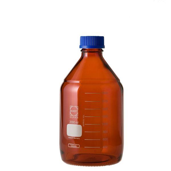 【柴田科学】ねじ口びん(メジュームびん) 茶褐色 青キャップ付 2L 017210-2000