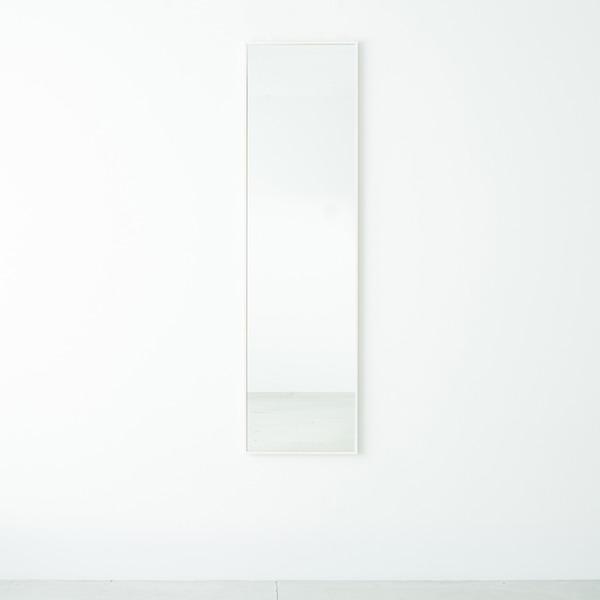 細枠ウォールミラー 幅42cm(ホワイト/白) 天然木/姿見鏡/ワイド/高級感/木製/飛散防止加工/壁掛け/北欧風/日本製/完成品/NK-7