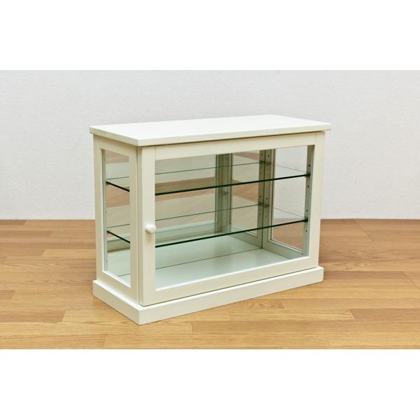 コレクションケース 【ヨコ型】 木製(天然木)/ガラス 幅60cm×奥行26.5cm ホワイト(白)【代引不可】
