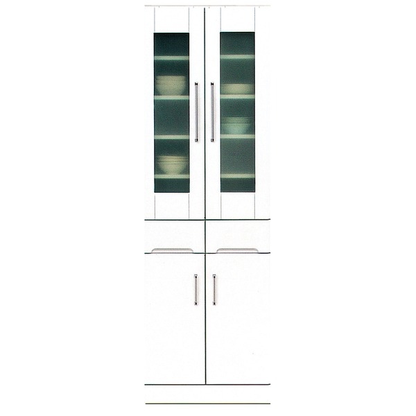 ダイニングボード 【幅60cm】 飛散防止ガラス扉/耐震ラッチ/可動棚付き 日本製 ホワイト(白) 【完成品】【代引不可】