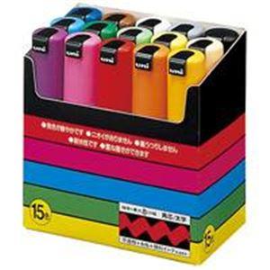 (業務用10セット) 三菱鉛筆 ポスカ/POP用マーカー 【太字 15色セット】 水性インク PC8K15C