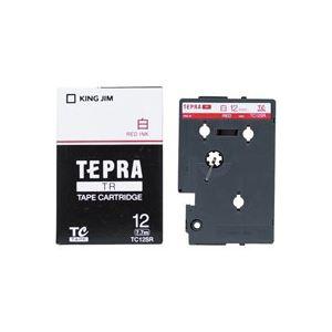 (業務用30セット) キングジム テプラTRテープ TC12SR 白に赤文字 12mm