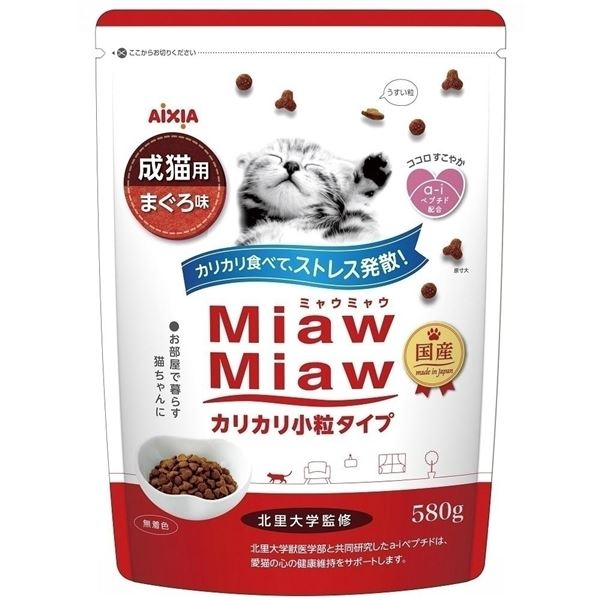 (まとめ)アイシア MiawMiawカリカリ小粒まぐろ580g 【猫用・フード】【ペット用品】【×12セット】