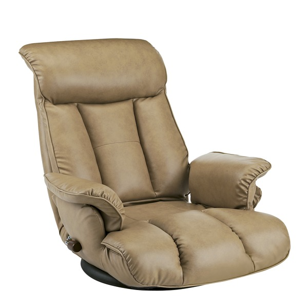 スーパーソフトレザー座椅子/フロアチェア 【キャメル】 張地:合成皮革/合皮 肘付き ハイバック 日本製 『昴』 【完成品】【代引不可】
