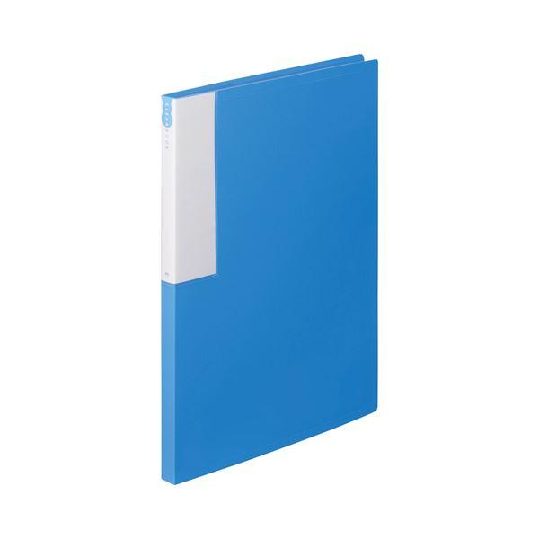 (まとめ) TANOSEE クリヤーブック(クリアブック) A4タテ 24ポケット 背幅17mm ブルー 1セット(10冊) 【×5セット】