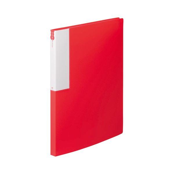 (まとめ) TANOSEE クリヤーブック(クリアブック) A4タテ 24ポケット 背幅17mm レッド 1セット(10冊) 【×5セット】