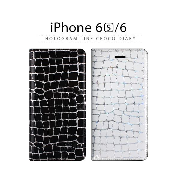 GAZE iPhone6/6S Hologram Line Croco Diary ブラック