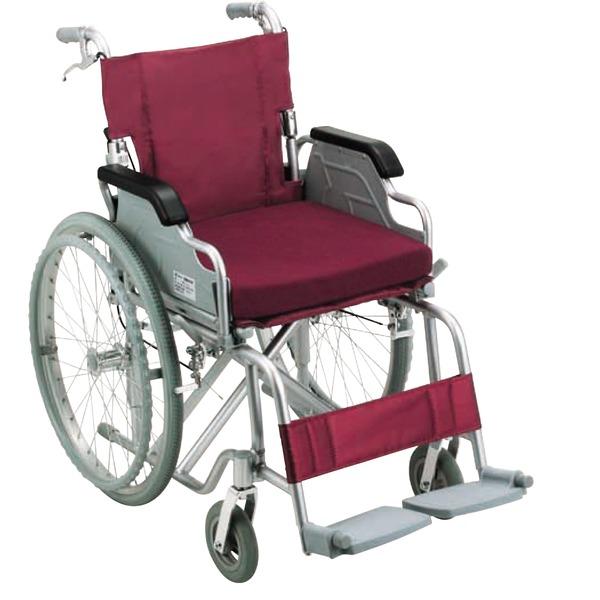 アルミ製 車椅子 【ノーパンクタイヤ】 自走・介助兼用 折り畳み 跳ね上げ式肘掛け 低反発クッション付き 〔介護用品 福祉用品〕