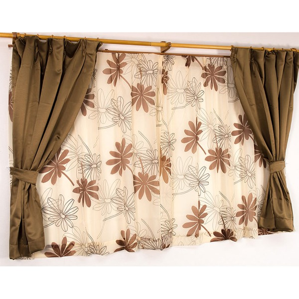 遮光カーテン&レースカーテン 4枚組 4枚セット / 100cm×135cm ブラウン / 南国 花柄 洗える バッグ 『パスピエ』 九装