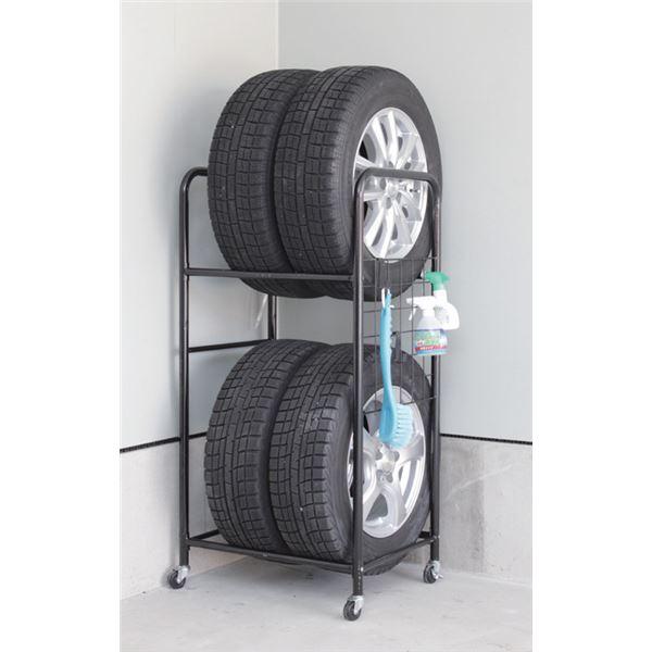 タイヤラック/タイヤ収納 【スリムタイプ】 幅57cm 耐荷重量120kg 撥水カバー キャスター付き 本体:スチール製 〔ガレージ 車庫〕【代引不可】
