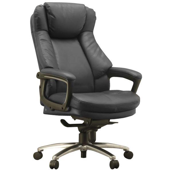 ハイバックオフィスチェア/デスクチェア 【ブラック】 座面ポケットコイル使用 張地:合成皮革 肘付き 『スリンスキー』【代引不可】