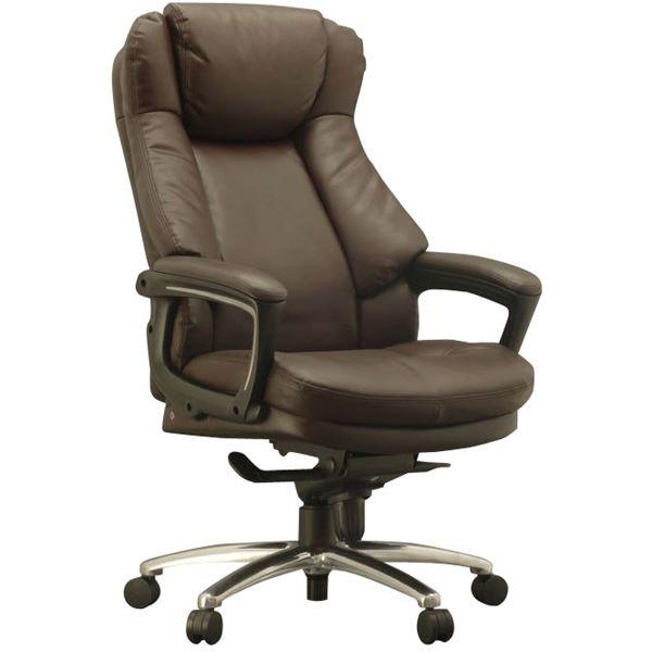 ハイバックオフィスチェア/デスクチェア 【ブラウン】 座面ポケットコイル使用 張地:合成皮革 肘付き 『スリンスキー』【代引不可】