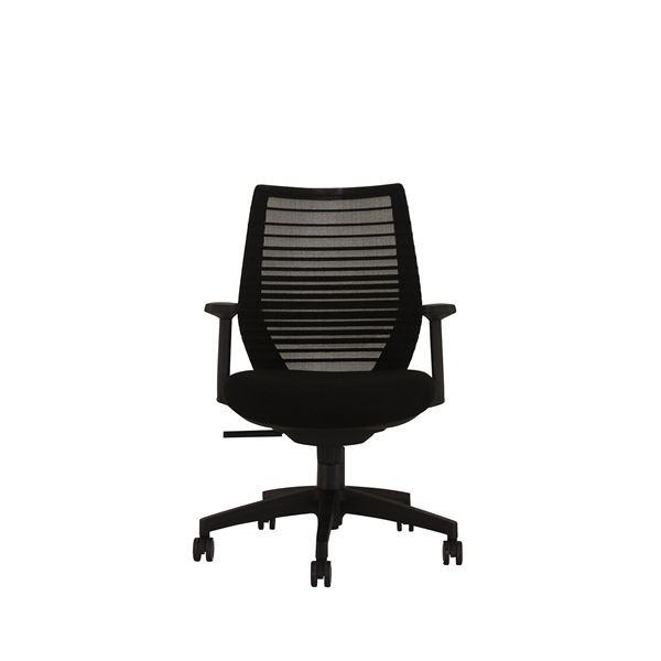 座面昇降式オフィスチェア/デスクチェア 【肘付き×ブラック】 メッシュ素材 リクライニング キャスター付き 『ビートル』【代引不可】