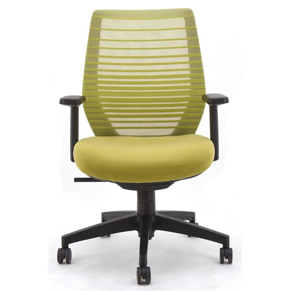 座面昇降式オフィスチェア/デスクチェア 【肘付き×グリーン】 メッシュ素材 リクライニング キャスター付き 『ビートル』【代引不可】