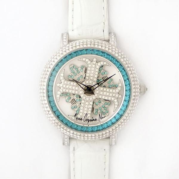 アンコキーヌ ネオ 40mm バイカラー ミニクロス シルバーベゼル インナーベゼルブルー ホワイトベルト イール 正規品(腕時計・グルグル時計)