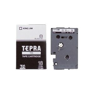 (業務用30セット) キングジム テプラTRテープ TC18S 白に黒文字 18mm