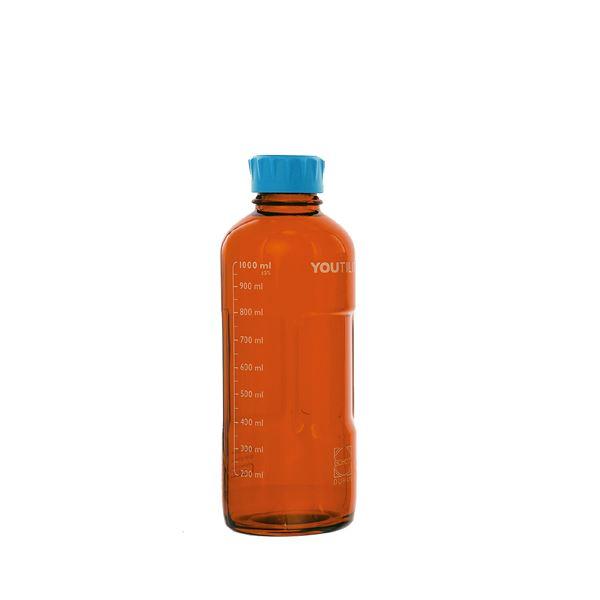 【柴田科学】ユーティリティーねじ口びん 茶褐色 水キャップ付 1L【4個】 017320-1000A