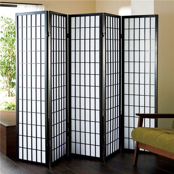 障子風スクリーン(パーテーション/衝立) 5連 高さ150cm 枠:木製 張地:不織布