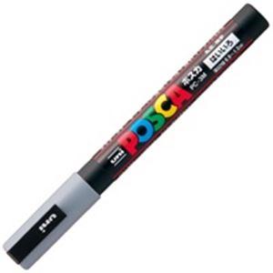 (業務用200セット) 三菱鉛筆 ポスカ/POP用マーカー 【細字/灰】 水性インク PC-3M.37