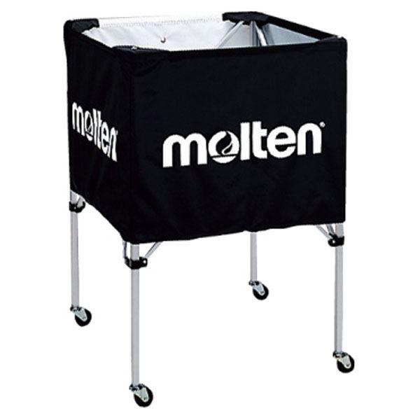 【モルテン Molten】 折りたたみ式 ボールカゴ 【中・背低 ブラック】 幅63×奥行63cm キャスター ケース付き
